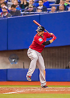 2 April 2016: Boston Red Sox catcher Blake Swihart at bat during a pre-season exhibition game against the Toronto Blue Jays at Olympic Stadium in Montreal, Quebec, Canada. The Red Sox defeated the Blue Jays 7-4 in the second of two MLB weekend games, which saw a two-game series attendance of 106,102 at the former home on the Montreal Expos. Mandatory Credit: Ed Wolfstein Photo *** RAW (NEF) Image File Available ***2 April 2016: Boston Red Sox infielder Travis Shaw at bat during a pre-season exhibition game against the Toronto Blue Jays at Olympic Stadium in Montreal, Quebec, Canada. The Red Sox defeated the Blue Jays 7-4 in the second of two MLB weekend games, which saw a two-game series attendance of 106,102 at the former home on the Montreal Expos. Mandatory Credit: Ed Wolfstein Photo *** RAW (NEF) Image File Available ***