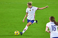 18th February 2021, Orlando, Florida, USA;  United States defender Abby Dahlkemper (7) passes the ball during a SheBelieves Cup game between Canada and the United States on February 18, 2021 at Exploria Stadium in Orlando, FL.