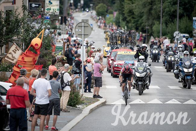 race leaders Pavel Sivakov (RUS/Ineos) & Julian Alaphilippe (FRA/Deceuninck-QuickStep) rolling through town<br /> <br /> Stage 5: Megève to Megève (154km)<br /> 72st Critérium du Dauphiné 2020 (2.UWT)<br /> <br /> ©kramon