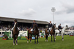 August 07, 2009: The French equestrian team of Penelope Leprevost, Roger Yves Bost, Timothee Anciaume and Kevin Staut line up for their national anthemn. France were the overall series winners. Meydan FEI Nations Cup. Failte Ireland Horse Show. The RDS, Dublin, Ireland.