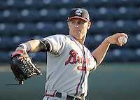 Outfielder Cory Harrilchak (4) of the Rome Braves, Class A affiliate of the Atlanta Braves, in a game against the Greenville Drive April 13, 2010, at Fluor Field at the West End in Greenville, S.C. Photo by: Tom Priddy/Four Seam Images