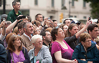 Brad Pitt World War Z Filming continues in Glasgow's George Square, and the crowds keep waiting to catch a glimpse of the Hollywood Star ..Picture: Johnny Mclauchlan Universal News and Sport (Europe)18/08/2011