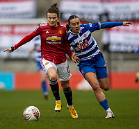 7th February 2021; Leigh Sports Village, Lancashire, England; Women's English Super League, Manchester United Women versus Reading Women; Hayley Ladd of Manchester United Women under pressure from Natasha Harding of Reading