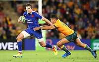 17th July 2021; Brisbane, Australia;  France's Pierre-Louis Barassi runs past Paisami (Aus) during the Australia versus France, 3rd Rugby Test at Suncorp Stadium, Brisbane, Australia on Saturday 17th July 2021.