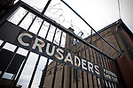 Crusaders 1 Fulham 3, 16/07/2011. Seaview Park, Europa League 2nd qualifying round first leg. The rusting gates at the entrance to Seaview Park, Belfast where Northern Irish club Crusaders are taking on Fulham in a UEFA Europa League 2nd qualifying round, first leg match. The visitors from England won by 3 goals to 1 before a crowd of 3011. Photo by Colin McPherson.