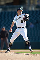 Wake Forest Demon Deacons starting pitcher Colin Peluse (8) in action against the Furman Paladins at BB&T BallPark on March 2, 2019 in Charlotte, North Carolina. The Demon Deacons defeated the Paladins 13-7. (Brian Westerholt/Four Seam Images)