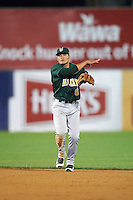 Lynchburg Hillcats shortstop Yu-Cheng Chang (6) throws to first base during a game against the Wilmington Blue Rocks on June 3, 2016 at Judy Johnson Field at Daniel S. Frawley Stadium in Wilmington, Delaware.  Lynchburg defeated Wilmington 16-11 in ten innings.  (Mike Janes/Four Seam Images)