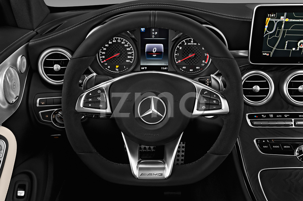 Car pictures of steering wheel view of a 2018 Mercedes Benz C-Class AMG-C43 2 Door Coupe Steering Wheel