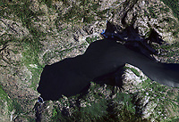 aerial view above Hetch Hetchy reservoir O'Shaughnessy Dam Yosemite National Park California