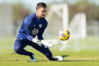 BRADENTON, FL - JANUARY 19: JT Marcinkowski makes the save during a training session at IMG Academy on January 19, 2021 in Bradenton, Florida.