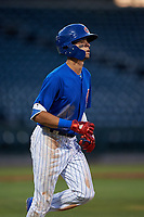 AZL Cubs 1 Ezequiel Pagan (1) jogs to first base after drawing a walk during an Arizona League game against the AZL Angels on June 24, 2019 at Sloan Park in Mesa, Arizona. AZL Cubs 1 defeated the AZL Angels 12-0. (Zachary Lucy / Four Seam Images)