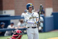 Michigan Wolverines first baseman Jimmy Obertop (8) at the plate against the Maryland Terrapins on May 23, 2021 in NCAA baseball action at Ray Fisher Stadium in Ann Arbor, Michigan. Maryland beat the Wolverines 7-3. (Andrew Woolley/Four Seam Images)