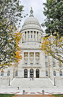 22 October 2011: Images of the Rhode Island State House, visited by Members of the New England Conference of Architectural Boards at their Annual Fall Meeting at 90 Smith Street in Providence, Rhode Island. The State House is a neoclassical building that houses the General Assembly and the offices of the Governor as well as the Lieutenant Governor, Secretary of State, and General Treasurer of Rhode Island. The building is on the National Register of Historic Places and is Rhode Island's seventh in history, and the second in Providence. It was designed by the architectural firm of McKim, Mead, and White and constructed from 1895 to 1904. Mandatory Credit: Ed Wolfstein Photo