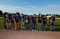Batavia Muckdogs recognize the Batavia Blue Devils high school team before a NY-Penn League game against the Auburn Doubledays on August 31, 2019 at Dwyer Stadium in Batavia, New York.  Auburn defeated Batavia 12-5.  (Mike Janes/Four Seam Images)