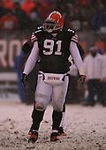 December 16th, 2007:  Cleveland Browns Shaun Smith (91) walks to the line of scrimmage at Cleveland Browns Stadium in Cleveland, Ohio.  The Browns shutout the Bills 8-0 to inch closer to clinching a playoff spot.  Photo Copyright Mike Janes Photography.