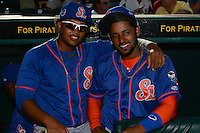 St. Lucie Mets Jhoan Urena (left) and Adrian Abreu (right) before a game against the Bradenton Marauders on April 11, 2015 at McKechnie Field in Bradenton, Florida.  St. Lucie defeated Bradenton 3-2.  (Mike Janes/Four Seam Images)