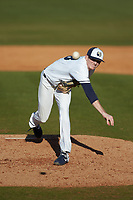 Wingate Bulldogs relief pitcher Mac Callari (28) delivers a pitch to the plate against the Concord Mountain Lions at Ron Christopher Stadium on February 2, 2020 in Wingate, North Carolina. The Mountain Lions defeated the Bulldogs 12-11. (Brian Westerholt/Four Seam Images)