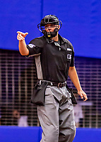 26 March 2018: MLB Umpire Stu Scheurwater calls a strike at the plate during an exhibition game between the St. Louis Cardinals and the Toronto Blue Jays at Olympic Stadium in Montreal, Quebec, Canada. The Cardinals defeated the Blue Jays 5-3 in the first of two MLB pre-season games in the former home of the Montreal Expos. Mandatory Credit: Ed Wolfstein Photo *** RAW (NEF) Image File Available ***