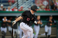 Batavia Muckdogs Troy Johnston (27) bats during a NY-Penn League game against the Lowell Spinners on July 10, 2019 at Dwyer Stadium in Batavia, New York.  Batavia defeated Lowell 8-6.  (Mike Janes/Four Seam Images)
