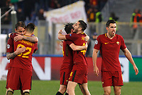 Roma players, from left, Daniele De Rossi, Stephan El Shaarawy, Alessandro Florenzi, Kostas Manolas and Kevin Strootman celebrate at the end of the Uefa Champions League round of 16 second leg soccer match between Roma and Shakhtar Donetsk at Rome's Olympic stadium, March 13, 2018. Roma won. 1-0 to join the quarter finals.<br /> UPDATE IMAGES PRESS/Riccardo De Luca