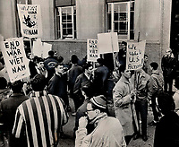 1965 FILE -<br /> Pro and anti-U.S. groups mingle at U.S. consulate; Varsity students came close to brawling over American raids on Viet Nam<br /> <br /> <br /> 1965<br /> <br /> PHOTO :  Gordon McCaffrey - Toronto Star Archives - AQP
