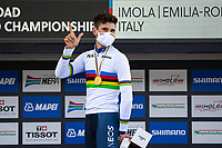 Picture by Alex Whitehead/SWpix.com - 25/09/2020 - Cycling - UCI 2020 Road World Championships IMOLA - EMILIA-ROMAGNA ITALY - Individual Time Trial Men Elite - Filippo Ganna of Italy on the podium after winning the Men's Elite Individual Time Trial. - TISSOT - SHIMANO - MAPEI - SANTINI