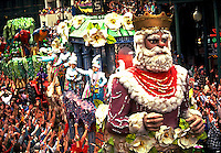 The King float in the Rex Mardi Gras parade. New Orleans, Louisiana.