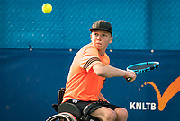 Maarten ter Hofte (NED)Amstelveen, Netherlands, 22 Augustus, 2020, National Tennis Center, NTC, NKR, National  Wheelchair Tennis Championships, Junior Boys single: Robin Groenewoud (NED) <br /> Photo: Henk Koster/tennisimages.com