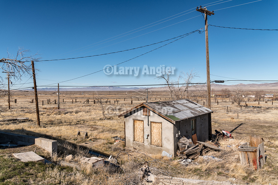 Abandoned building and debris along the I-80 frontage road, Imlay, Nevada