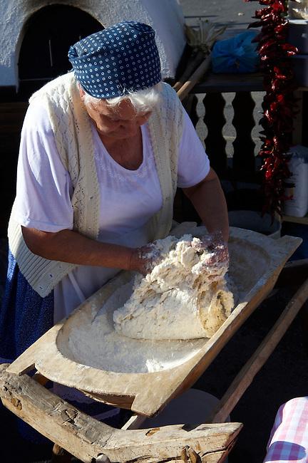 Women from Dél Alfodi Régio (South Alfoldi ) preparing dough for Lepeny -  Hungarian Regional Gastronomic Festival 2009 - Gyor ( Gy?r ) Hungary
