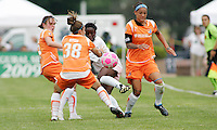 Eniola Aluko sandwiched between Sky Blue players..Saint Louis Athletica defeated Sky Blue FC 1-0 at Anheuser-Busch Soccer Park, Fenton, Missouri.