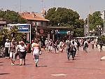 The historic city of Montpellier Languedoc-Roussillon region of France. People shopping in the centre of the town.