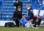 21.02.2021 Rangers v Dundee Utd: Leon Balogun with a face knock