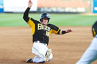 Zach Borenstein (18) of the Salt Lake Bees hustles towards third base against the Sacramento River Cats at Smith's Ballpark on June 6, 2014 in Salt Lake City, Utah.  (Stephen Smith/Four Seam Images)