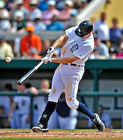 9 March 2012: Detroit Tigers infielder Don Kelly connects for a home run during a Spring Training game against the Philadelphia Phillies at Joker Marchant Stadium in Lakeland, Florida. The Phillies defeated the Tigers 7-5 in Grapefruit League action. Mandatory Credit: Ed Wolfstein Photo