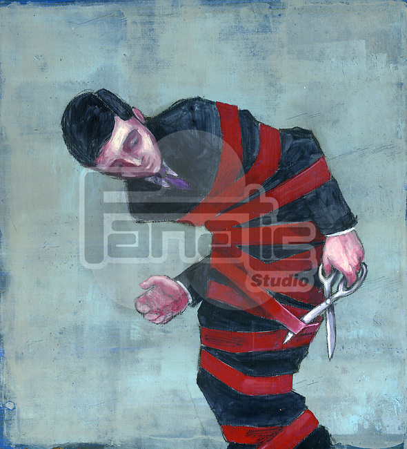 Illustration of a tied up businessman cutting red tape by a scissor over colored background