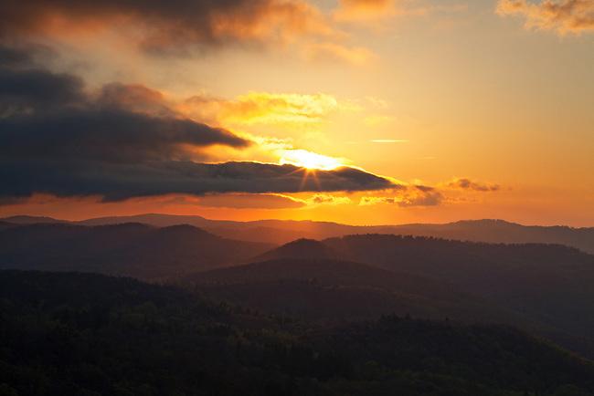 Sunrise over Backbone ridge and the proposed Grandfather National Scenic Area, Blue Ridge Parkway