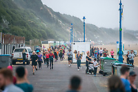 BNPS.co.uk (01202 558833)<br /> Pic: MaxWillcock/BNPS<br /> <br /> Hundreds of runners responded to an Instagram invitation to join the nation's favourite PE teacher Joe Wicks on an early morning 5km run from Bournemouth Pier to Boscombe Pier and back.<br /> <br /> Avid fans of The Body Coach had to wake up at the crack of dawn to meet Joe Wicks at 7am for the run down the promenade.