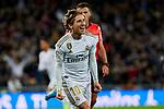 Luka Modric of Real Madrid celebrates goal during La Liga match between Real Madrid and Real Sociedad at Santiago Bernabeu Stadium in Madrid, Spain. November 23, 2019. (ALTERPHOTOS/A. Perez Meca)