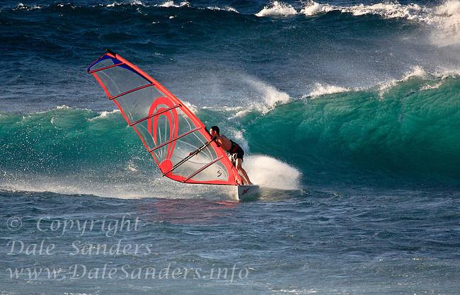 Windsurfing the Waves at Hookipa Beach, Maui, Hawaii, USA        No Releases