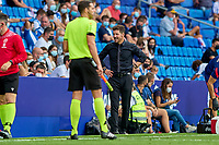 12th September 2021: Barcelona, Spain:  Simeone questions a call on the sideline during the Liga match between RCD Espanyol and Atletico de Madrid at RCDE Stadium in Cornella, Spain.