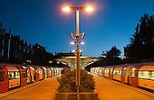 West Hampstead tube station at dusk.