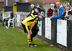 Dejected Hucknall Captain Aaron Short is consoled by Paul Stevenson Assistant Manager of Hucknall Town, at full time. Hucknall Town v Heanor Town, 17th October 2020, at the Watnall Road Ground, East Midlands Counties League. Photo by Paul Thompson.
