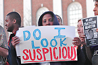 Hundreds rally in Harvard Square Cambridge MA demanding justice for murdered hoodie wearing Sanford Florida teenager Trayvon Martin and protesting justified homocide laws that protect alleged murderers like George Zimmerman 3.22.12