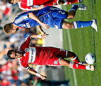 Chicago Fire midfielder Cuauhtemoc Blanco (10) makes a move on Kansas City defender Michael Harrington (2).  The Kansas City Wizards defeated the Chicago Fire 1-0 at Toyota Park in Bridgeview, IL on April 20, 2008.