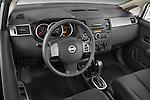 High angle dashboard view of a  2009 Nissan Versa Hatchback