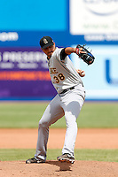 Fernando Cabrera #38 of the Salt Lake Bees pitches against the Las Vegas 51s at Cashman Field on May 27, 2013 in Las Vegas, Nevada. Las Vegas defeated Salt Lake, 9-7. (Larry Goren/Four Seam Images)
