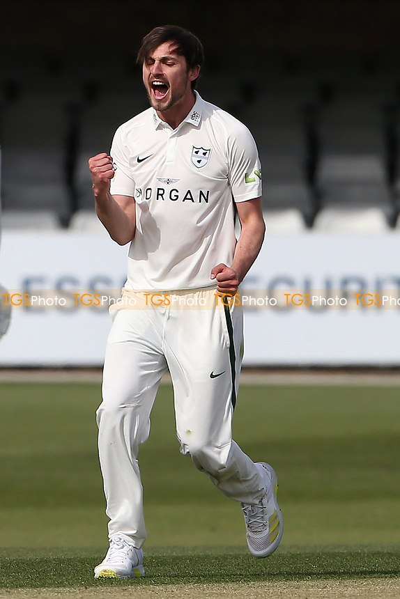 Ed Barnard of Worcestershire claims the wicket of Dan Lawrence during Essex CCC vs Worcestershire CCC, LV Insurance County Championship Group 1 Cricket at The Cloudfm County Ground on 8th April 2021