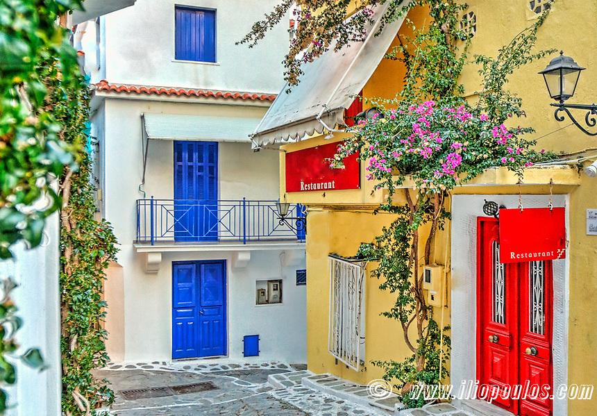 Traditional restaurant in the Chora of Skiathos island, Greece