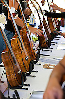 Ukuleles on display at the 40th Annual Ukulele Festival